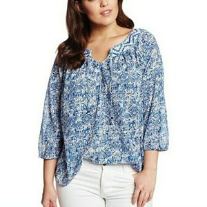 Lucky Brand blue white print embroidered top